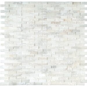 Greecian Splitface Marble Mosaic Tile in White