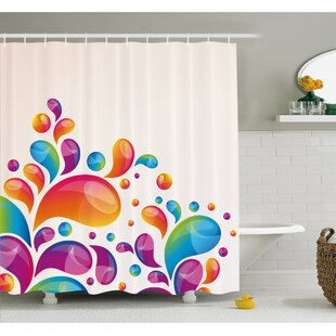 Cute Raindrops In Different Sizes In Gradient Colors Abstract Splash Style Shower Curtain Set by Ambesonne Reviews