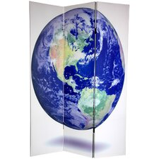 72 x 48 Double Sided Earth 3 Panel Room Divider by Oriental Furniture