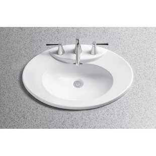 Toto Pacifica Ceramic Oval Drop-In Bathroom Sink with Overflow