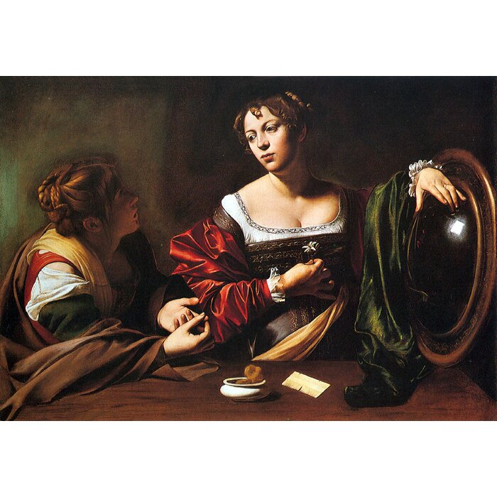 Michelangelo Caravaggio Martha Mary Magdalene Giclee Canvas Print Paintings