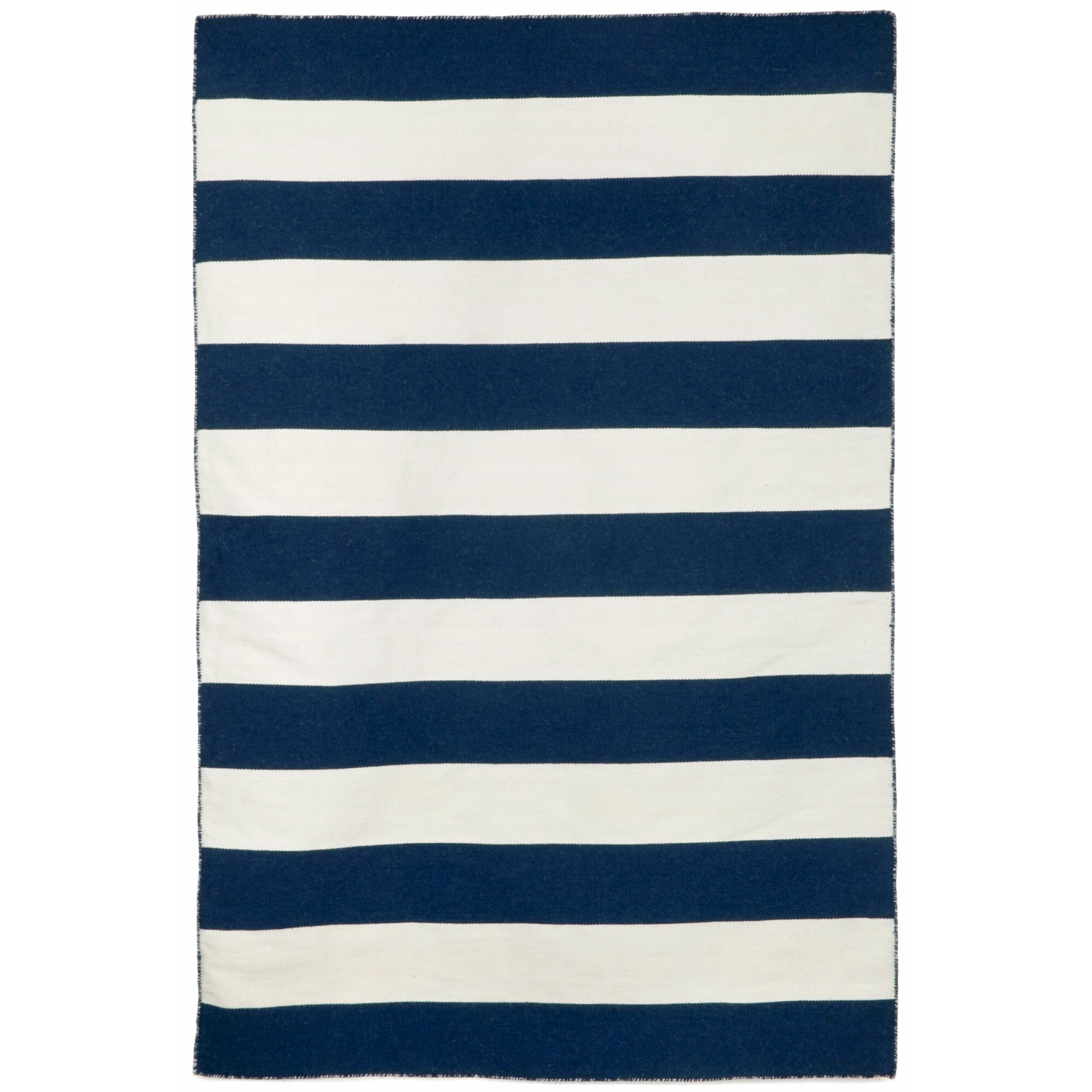 Ranier Stripe Handwoven Flatweave Navy White Indoor Outdoor Area Rug