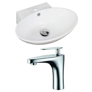 Ceramic 23 Wall Mount Bathroom Sink with Faucet and Overflow American Imaginations