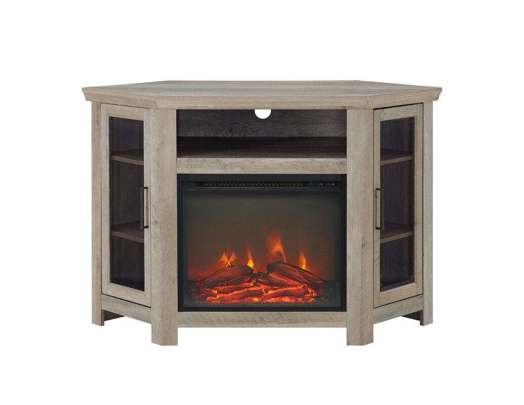 brambly cottage andreas wood corner fireplace media tv stand for