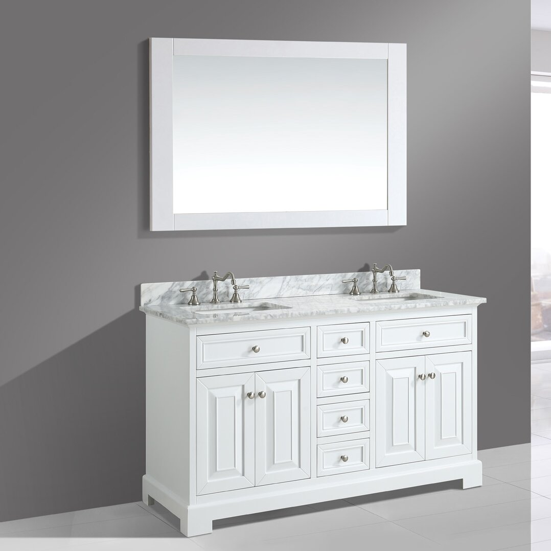Bathroom sink and mirror - Rochelle 60 Double Bathroom Sink Vanity Set With Mirror