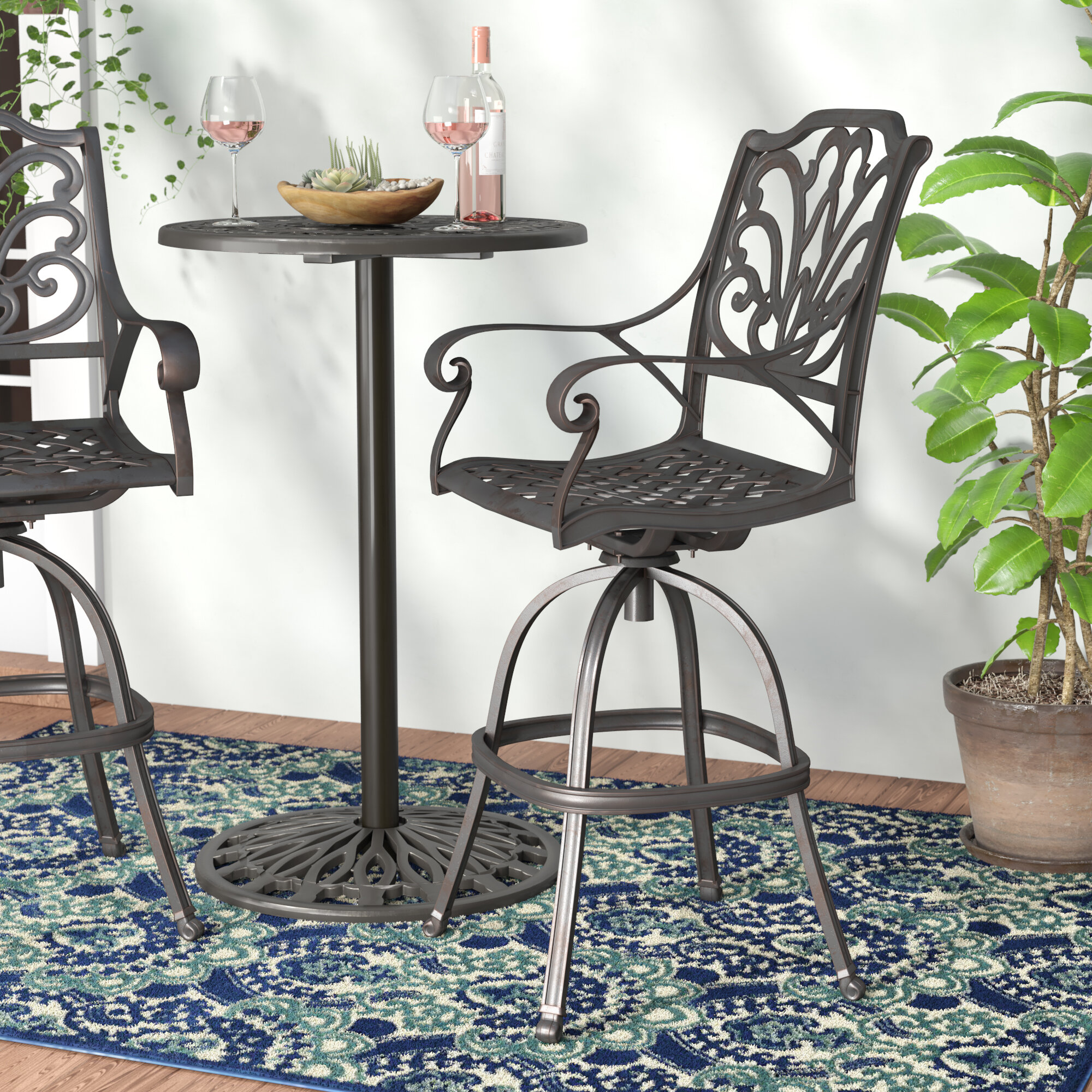 Image of: Fleur De Lis Living Racette Outdoor Cast Aluminum 29 5 Patio Bar Stools Set Of 4 Reviews Wayfair