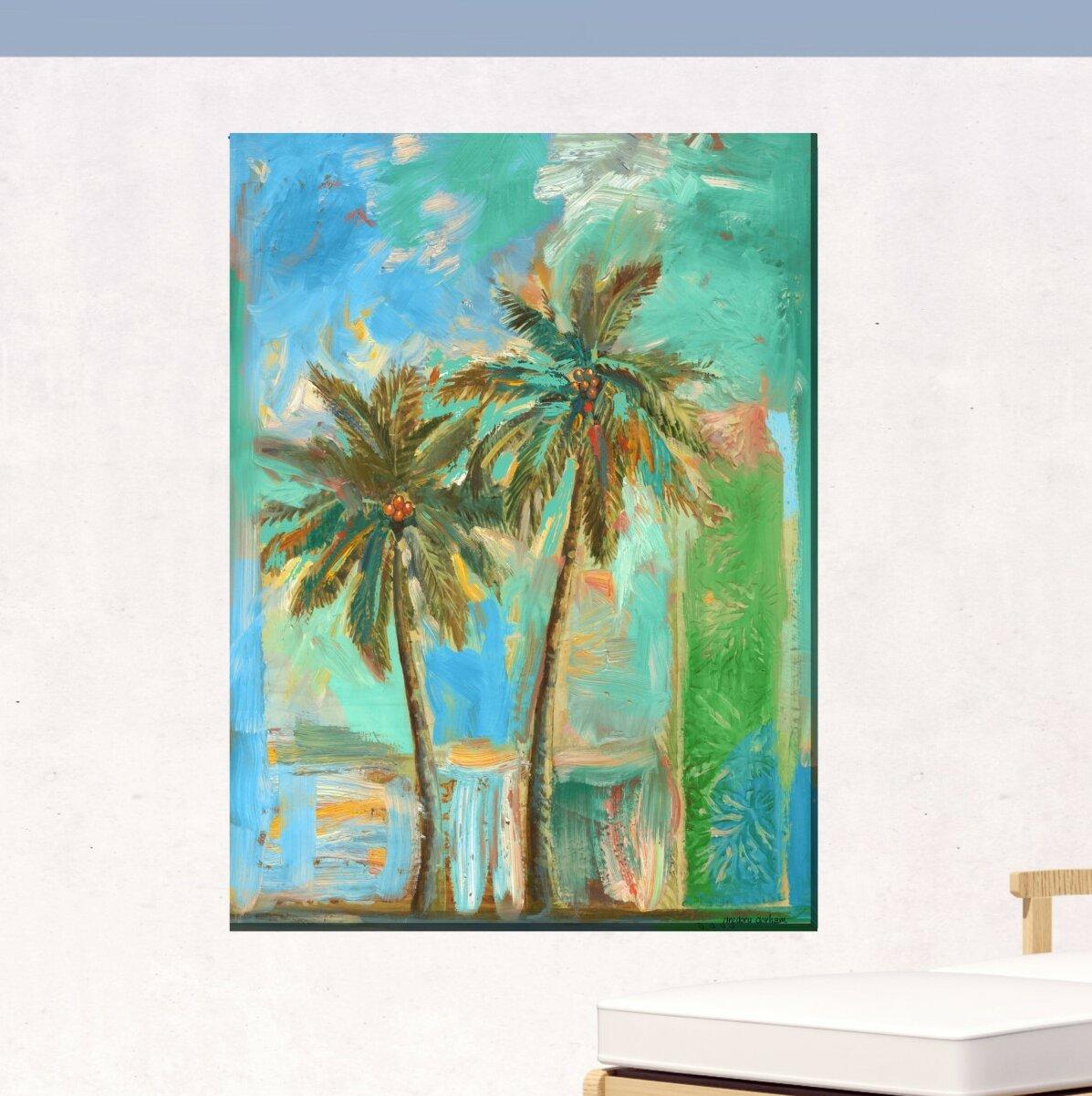 Bayou Breeze Javen Modern Palms 2 Outdoor Wall Decor