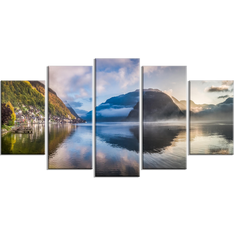 Designart Misty Lake At Dawn Panorama 5 Piece Wall Art On Wrapped Canvas Set Wayfair