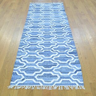 Affordable One-of-a-Kind Jarman Denim Jeans Handmade Kilim Runner 2'7 x 8' Wool Blue/White Area Rug By Isabelline
