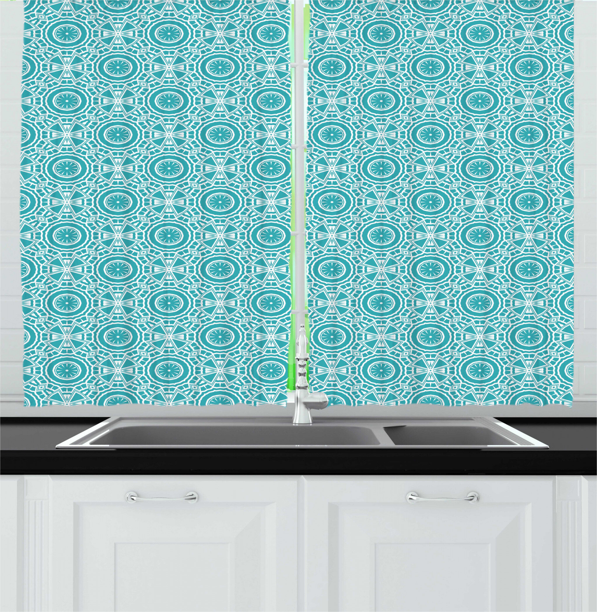 East Urban Home Boho Continuous Abstract Pattern With Modern Mandala Effect Monochrome Kitchen Curtain Wayfair