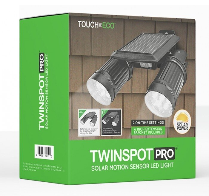 touch of eco twinspot pro solar 14 light led outdoor spotlight