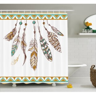 Indian Old Hippie Feather Decor Shower Curtain By East Urban Home