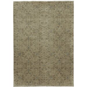 Heavenly Biscuit Green Floral Area Rug