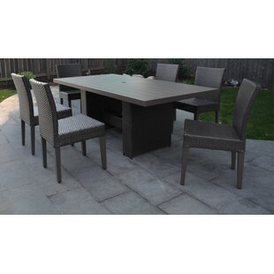 TK Classics Barbados 7 Piece Outdoor Patio Dining Set with Cushions