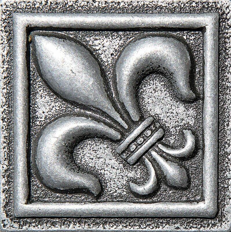 2 X Fleur De Lis Deco Accent Tile