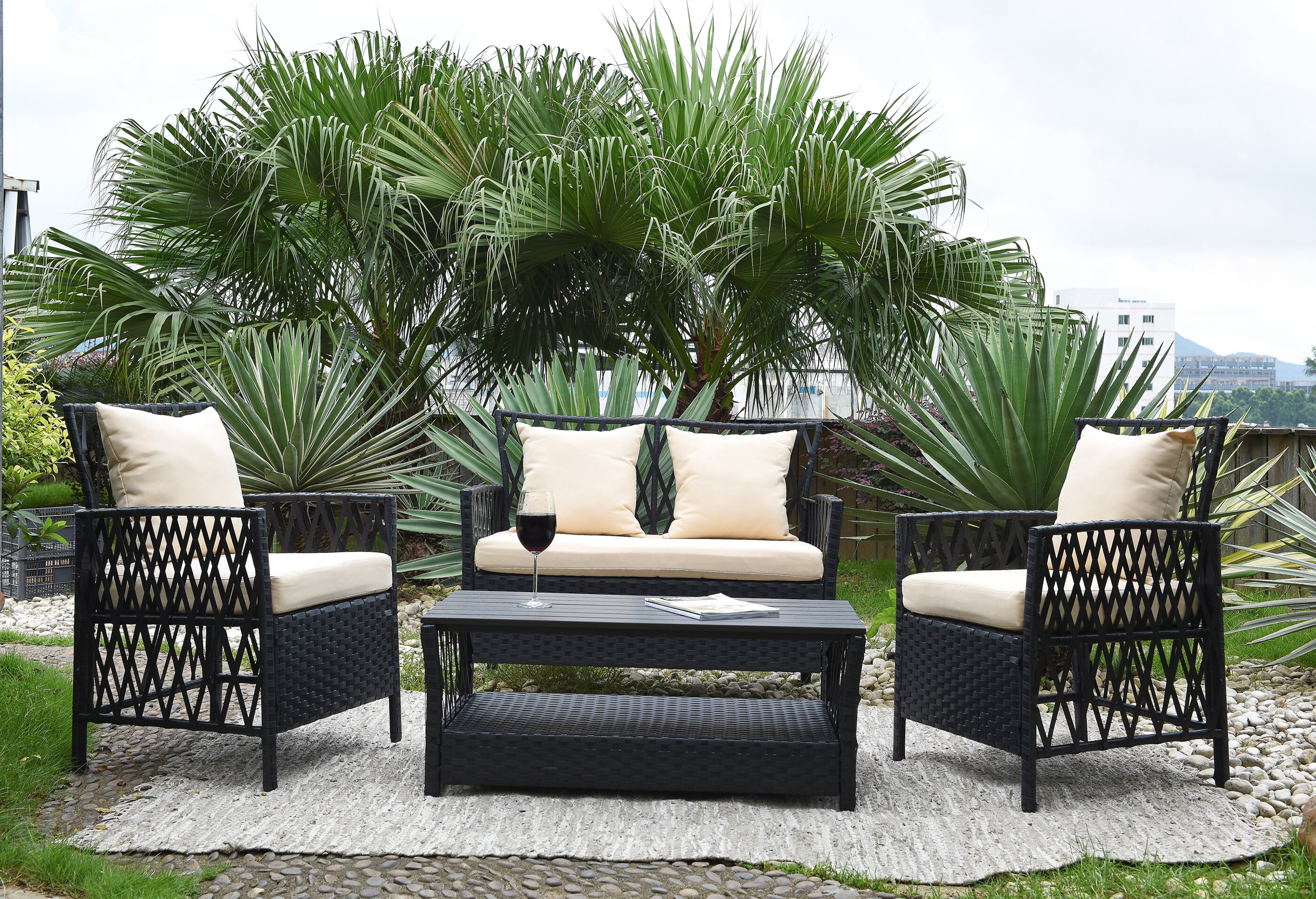 Ackerson 4 Piece Sofa Set with Cushions