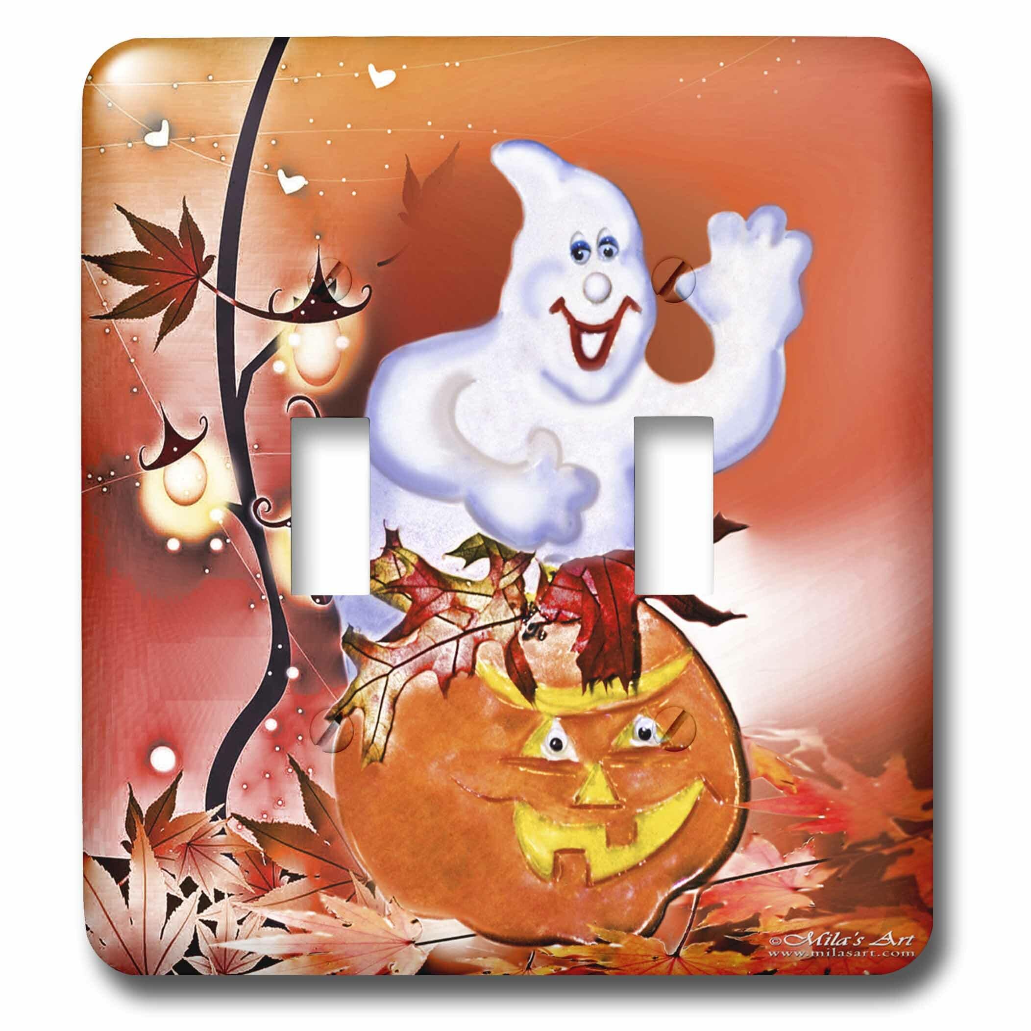 3drose Halloween Ghost And Pumpkin 2 Gang Toggle Light Switch Wall Plate Wayfair