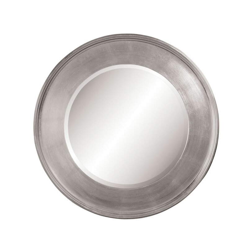 Palmer Round Silver Leaf Rubber Wood Wall Mirror