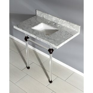 Great Price Templeton Stone Rectangular Undermount Bathroom Sink with Overflow By Kingston Brass