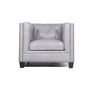 Review Katy Leather Armchair by Darby Home Co