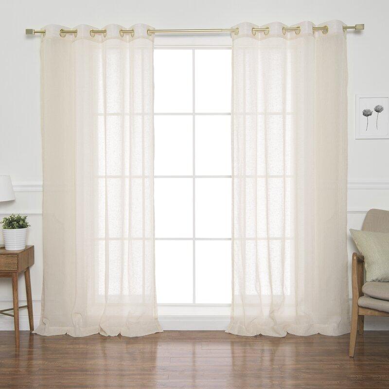 Semi Sheer Curtains For Kitchen Curtain Linen Textured: Everly Quinn Garth Faux Linen Solid Semi-Sheer Grommet