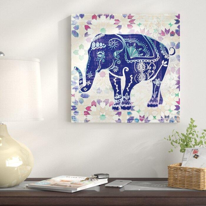 Painted Elephant II Painting Print on Wrapped Canvas on elephant art, elephant furniture, elephant bathroom, cat design home, elephant logo design, elephant graphic design,