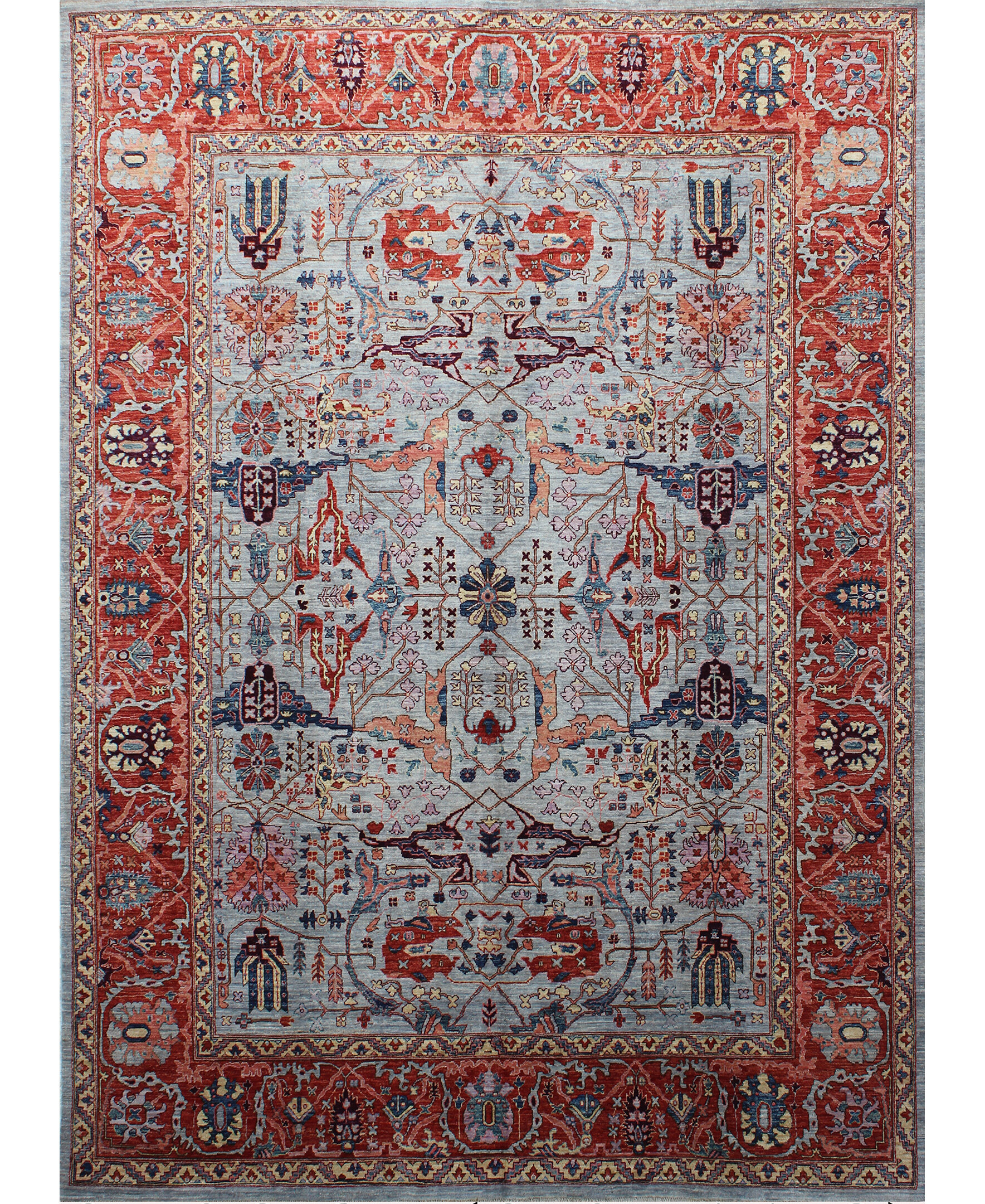 Bokara Rug Co Inc Aryana Oriental Hand Knotted Wool Light Blue Rust Area Rug Wayfair