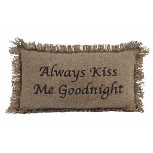 Lourdes Burlap Always Kiss Me Goodnight 100% Cotton Lumbar Pillow