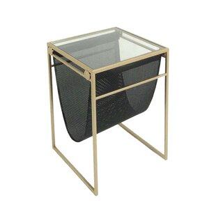 Sagebrook Home Metal & Glass & Vinyl End Table