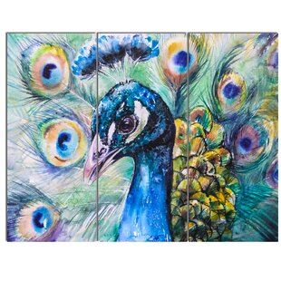 U0027Beautiful Peacock Watercoloru0027 3 Piece Painting Print On Canvas Set. By  Design Art