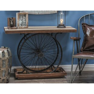 Metal/Wood Wheel Console Table