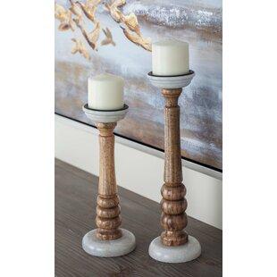 2 Piece Wood Candlestick Set