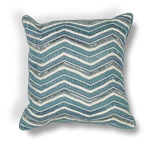 Zelma Indoor/Outdoor Chevron Cotton Beading Throw Pillow