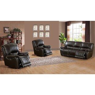 Canora Grey Walborn Reclining 3 Piece Leather Living Room Set