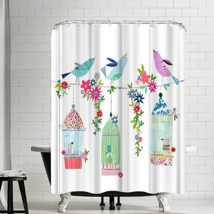 Liz and Kate Pope Pretty Bird Cages Shower Curtain