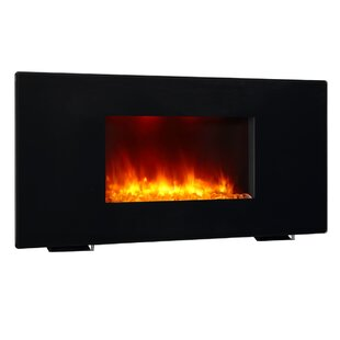 Black 1350W Galena Wall Mounted Electric Fireplace by Puraflame