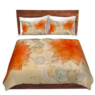 DiaNoche Designs Spacey Orange Flowers Duvet Cover Set