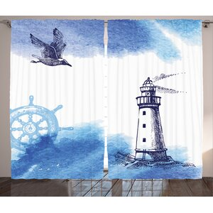 Galen Decor Graphic Print and Text Semi-Sheer Rod Pocket Curtain Panels (Set of 2)