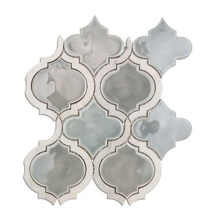 Oracle Random Sized Mixed Material Mosaic Tile in Arctic Blue