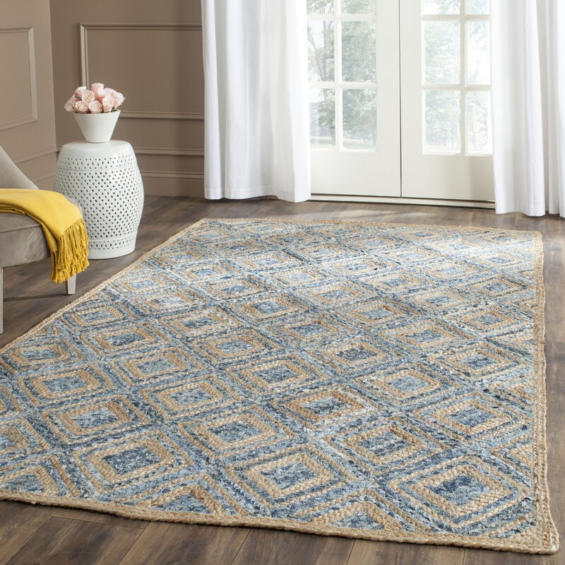 Beachcrest Home Gilchrist Geometric Handmade Flatweave Natural Blue Area Rug Reviews Wayfair