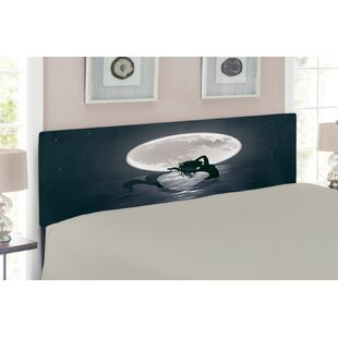 Mermaid at Night Silhouette Full Moon Upholstered Panel Headboard by East Urban Home
