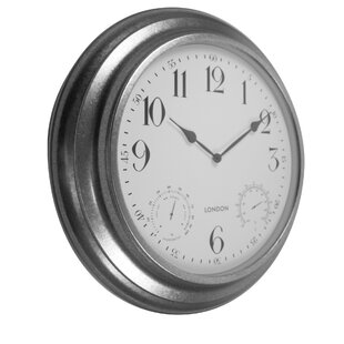 4a643968a2d Galvanized Metal Outdoor Indoor Clock with Thermometer and Hygrometer