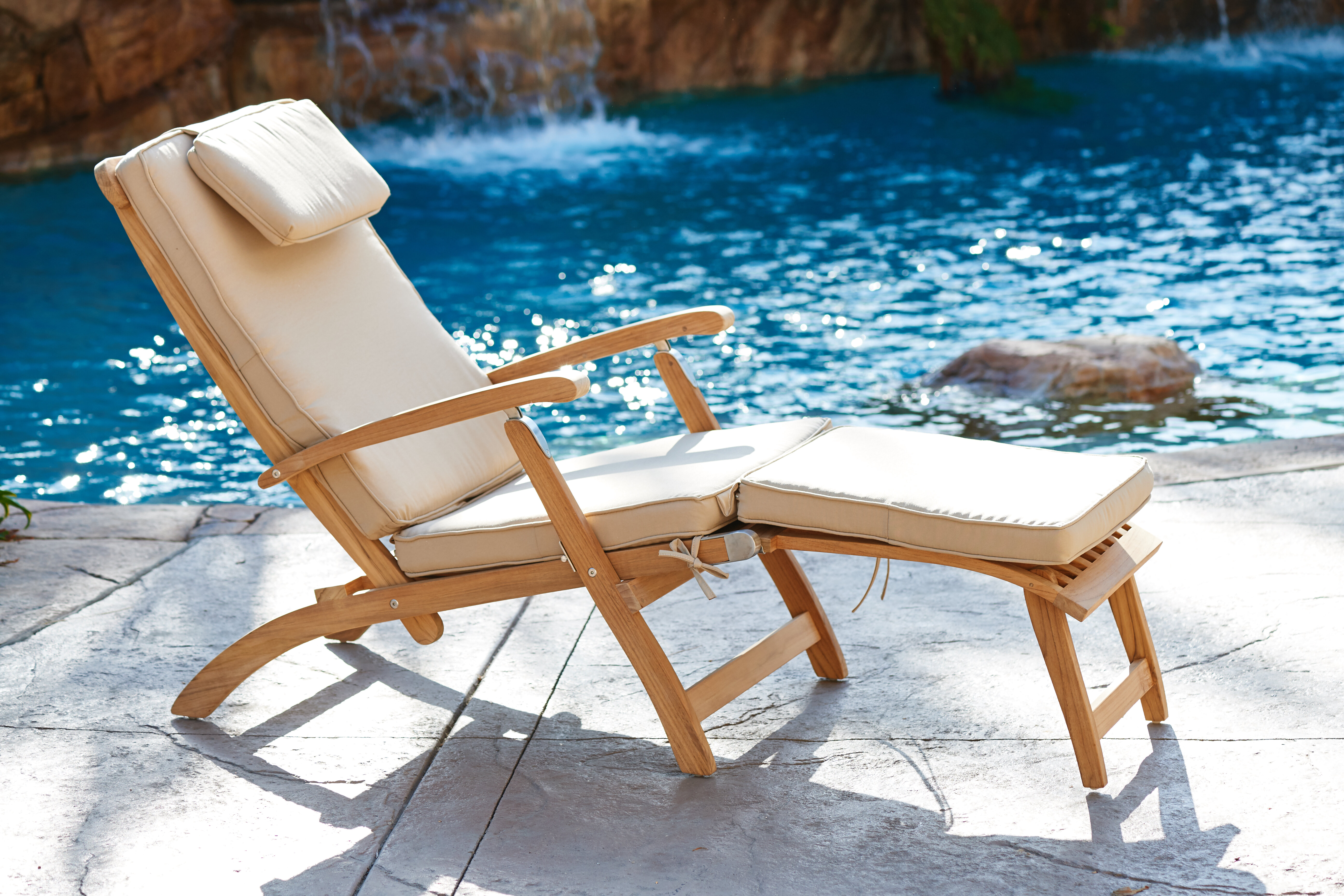 Peachy Cripe Reclining Teak Chaise Lounge With Cushion Onthecornerstone Fun Painted Chair Ideas Images Onthecornerstoneorg
