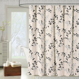 meridian printed cotton blend shower curtain