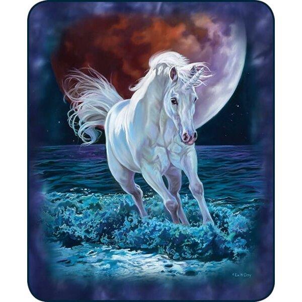 Winston Porter Gill Ultra Plush Midnight Unicorn Faux Fur Blanket Wayfair