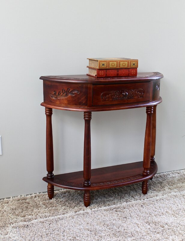 Windsor Hand Carved Wood Console Table. International Caravan Windsor Hand Carved Wood Console Table