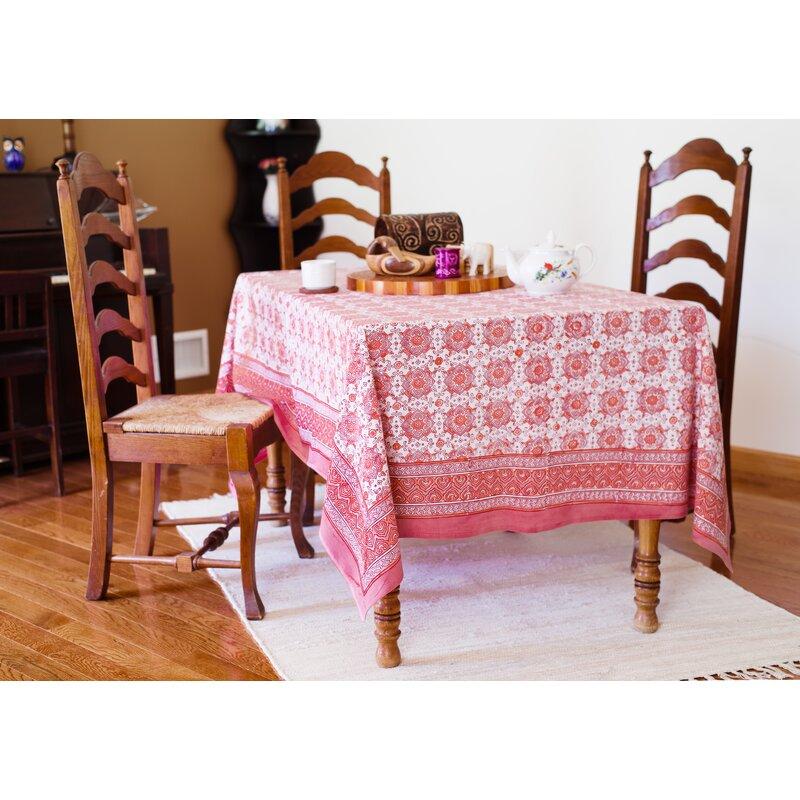 """Tile Block Print Cotton Tablecloth 86/"""" x 60/"""" Blue"""