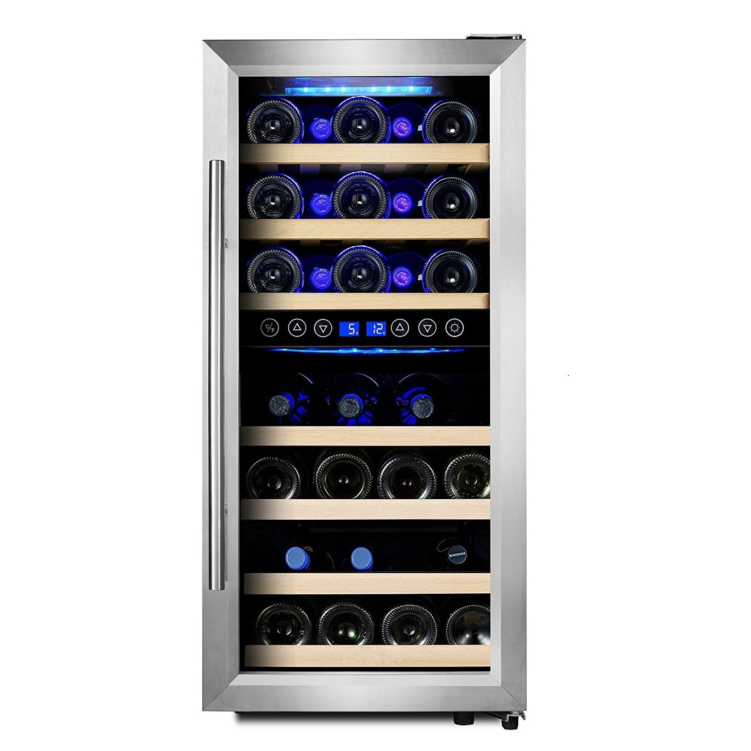 Phiestina 33 Bottle Dual Zone Freestanding Wine Refrigerator Reviews Wayfair