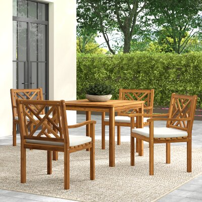 Chillicothe 5 Piece Dining Set With Cushions by Greyleigh Sale