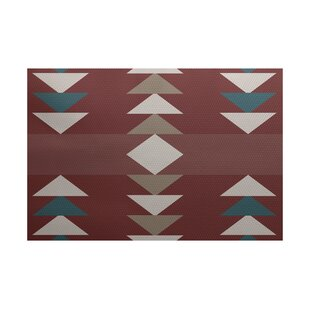 Deray Geometric Print Orange Indoor/Outdoor Area Rug